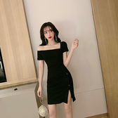 出清388 韓國風名媛斜肩性感開叉包臀短袖洋裝