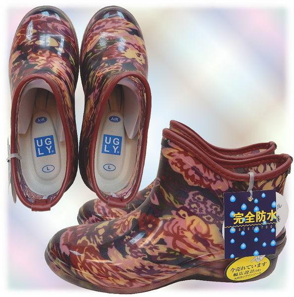 【波克貓哈日網】日本進口雨鞋◇短靴式造型◇《花朵圖案》氣墊內墊~含運