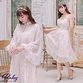 洋裝 宮廷風刺繡斗篷兩件式無袖長洋裝-Ruby s 露比午茶