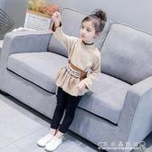女童上衣 春裝韓版兒童收腰圓領時髦上衣小女孩長袖T恤衫 『CR水晶鞋坊』
