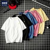 五分短袖T恤 白色體恤男士加肥大尺碼胖子衣服韓版潮流男裝