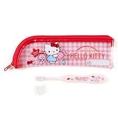 〔小禮堂〕Hello Kitty 兒童旅行牙刷附收納袋《粉.拿糖果》盥洗用品.旅行用品 4901610-67092