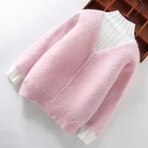 兒童毛衣女童毛衣2020新款洋氣水貂絨套頭秋冬兒童加絨加厚大童打底衫高領 新品
