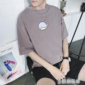 夏季男士圓領休閒短袖T恤學生寬鬆半袖體恤韓版印花五分袖潮男裝 米蘭潮鞋館