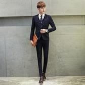 西裝套裝含西裝外套+西裝褲(三件套)-正韓潮流復古設計面試男西服2色73hc33[時尚巴黎]