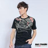 BIG TRAIN 霸氣雲龍圓領T-男-黑色