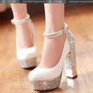 新娘鞋婚鞋伴娘鞋水晶高跟鞋粗跟婚紗鞋婚禮鞋女鞋