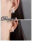 耳環 現貨 韓國氣質甜美閃亮微鑲極致花朵...