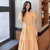 禮服 淡黃長裙腳踝仙氣森系小個子法式初戀甜美泡泡袖約會洋裝子女夏