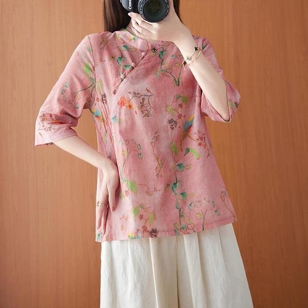 中國風上衣 復古斜襟珠扣改良襯衫夏季新款寬鬆苧麻印花顯瘦中袖上衣女 百分百