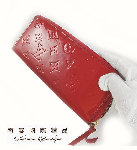 【雪曼國際精品】LV M90921 漆皮亮皮LOUIS VUITTON亮紅色長夾~二手商品8成新