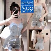 克妹Ke-Mei【ZT52432】歐美小惡魔風罩杯馬甲+腰帶破損牛仔褲套裝