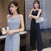 女裝夏2018新款潮性感修身顯瘦側開叉黑色禮服連衣裙吊帶氣質長裙 LI2681『時尚玩家』