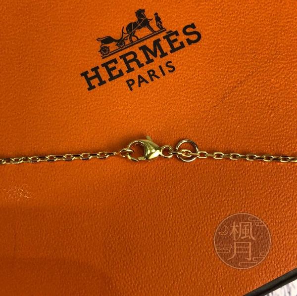 BRAND楓月 HERMES 愛馬仕 Y刻 駝色愛心吊牌項鍊 首飾 墜飾 配飾 配件 飾品 飾物 小物金屬 鏤空 拚皮
