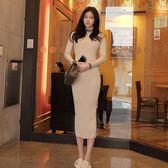 ✎﹏₯㎕ 米蘭shoe  針織連衣裙韓版氣質高領修身中長款包臀打底裙