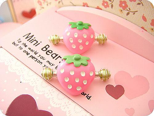 ☆棒棒糖童裝☆兒童寶寶樹脂粉色草莓髮夾 拉拉夾 彈簧夾