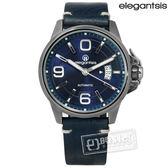 elegantsis / ELJT55A-NU02LC / 品味強勢潮流復古新騎士日期防水機械牛皮手錶 深藍x黑 44mm