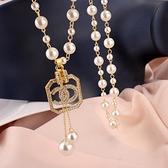 毛衣掛鏈 網紅項鏈女長款小香風珍珠掛鏈高級感流蘇吊墜掛件裝飾鏈 韓菲兒