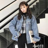 2019秋季新款韓版寬鬆工裝外套百搭學生短款上衣長袖牛仔夾克女 (pinkq時尚女裝)