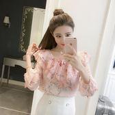 新年好禮 2018夏季新款韓版七分袖碎花雪紡襯衫蝴蝶結系帶娃娃領減齡上衣女