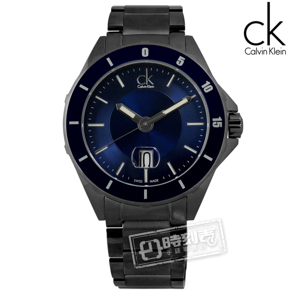 CK / K2W21W4N / 完美霸氣日期不鏽鋼腕錶 藍x鍍黑 44mm