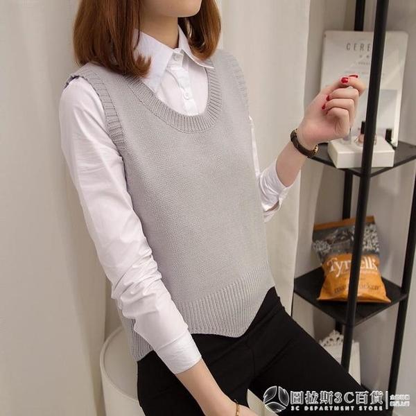 針織背心 新款女裝學院風寬松 圓領 針織衫 毛衣馬甲短款外套 圖拉斯3C百貨