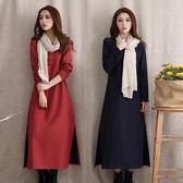 棉麻洋裝 冬季女裝中國風純色盤扣長裙文藝范圓領長袖洋裝連身裙加絨女-炫科技