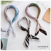 Catworld 拼色水玉點仿真絲領巾【18003286】‧F