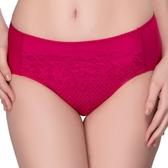 思薇爾-花霓系列M-XXL蕾絲中腰三角內褲(波爾紅)