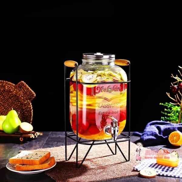 果汁罐 透明玻璃果汁罐帶龍頭密封自排氣酵素桶飲料桶無鉛泡酒瓶家用
