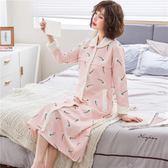 孕婦睡衣秋冬季加厚夾層夾棉睡袍女棉質睡裙中長款產后哺乳月子服 限時優惠