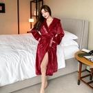 睡衣女秋冬季法蘭絨酒紅網紅性感加厚長款珊瑚絨保暖睡袍浴袍春秋 小山好物