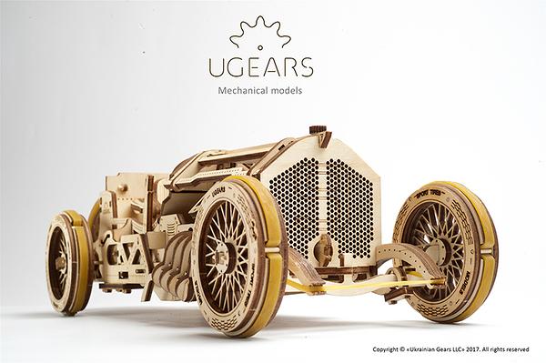 Ugears U-9 Grand Prix 格蘭坡治賽車 烏克蘭環保自走模型 F1 V8引擎 16活塞 可排檔倒車