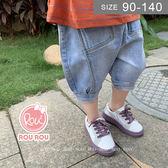 韓版男女童牛仔褲。ROUROU童裝。夏男女童中小童軟牛仔哈倫短褲 0322-422