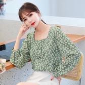 韓系 S-2XL 2020秋季新款女裝復古小碎花襯衫甜美方領襯衣長袖上衣8378 GD462 依品國際