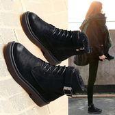新款韓版百搭學生chic平底小短靴秋冬單靴復古英倫風馬丁靴女