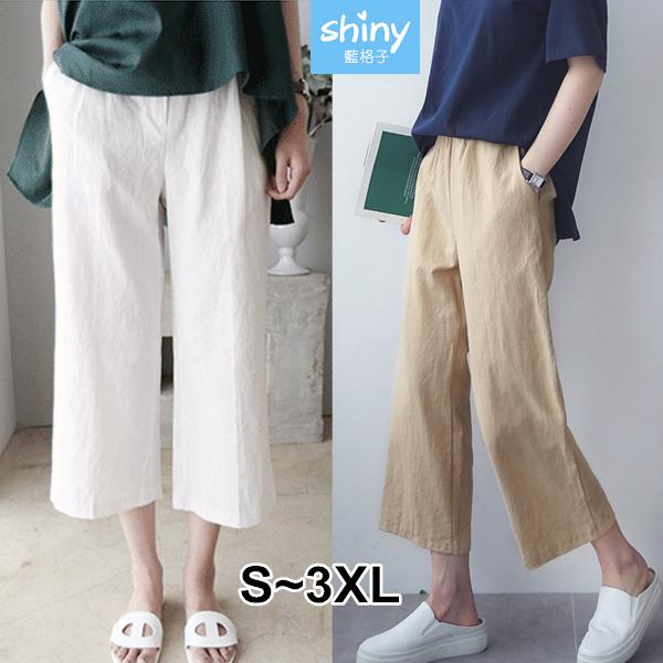【V3373】shiny藍格子-夏日風情.文藝高腰棉麻闊腿九分褲