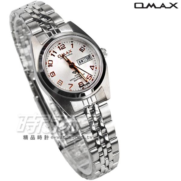 OMAX 時尚城市數字小圓錶 不鏽鋼錶帶 藍寶石水晶 女錶 OMAX4004L白玫