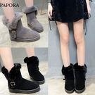 柔毛絨保暖短靴雪靴K8016黑/灰(偏小)PAPORA