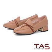TAS造型素面綁帶牛皮方頭低跟鞋-迷人卡其