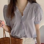 韓國2020夏季新款韓國chic襯衫女短袖T袖設計感小眾溫柔木耳邊v領泡泡袖上衣