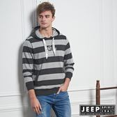 【JEEP】雙色粗條紋長袖連帽TEE (黑)