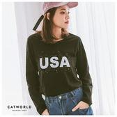 Catworld USA英文字潑漆圓領棉T【11406526】‧F*特價