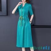 棉綢連身裙洋裝 子苧麻高端綠色光緞女裝真絲桑蠶絲棉麻重磅香云紗婦女 OO12021『科炫3C』