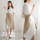 MIUSTAR 兩件式!斜切襯裙+不規則下襬襯衫洋裝(共1色)【NJ1760】預購