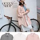 Queen Shop【02071102 】水洗刷破造型長版襯衫外套 三色售*現+預*