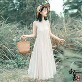 文藝風高冷范好質量面料彈力網紗 吊帶兩件套連身裙