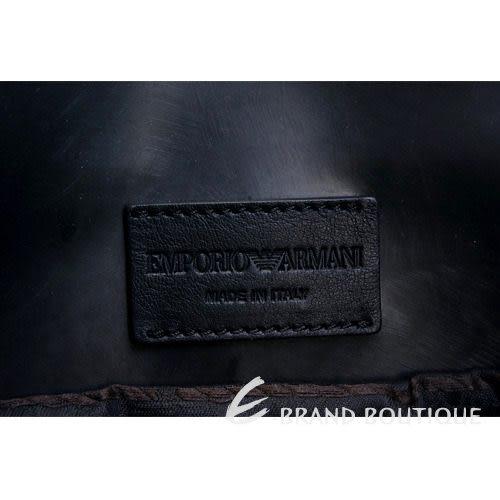 EMPORIO ARMANI 黑灰色格紋毛呢兩用提包(附背帶) 1240004-58