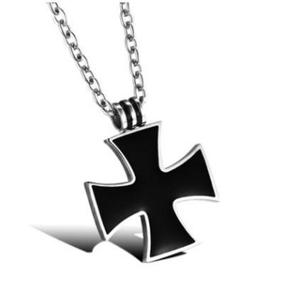 鈦鋼項鍊吊墜-黑色十字架生日情人節禮物男配件73cm6[時尚巴黎]