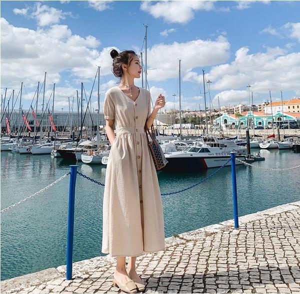 N618# 很仙的法國小眾襯衫連衣裙夏桔梗裙過膝氣質收腰V領長裙洋裝 &小咪的店&